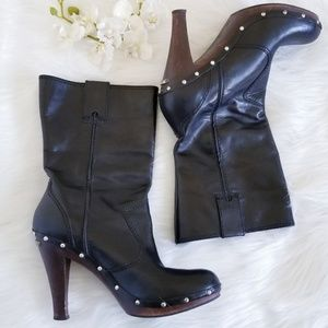 Michael Michael Kors Black Leather Mid Calf Boots